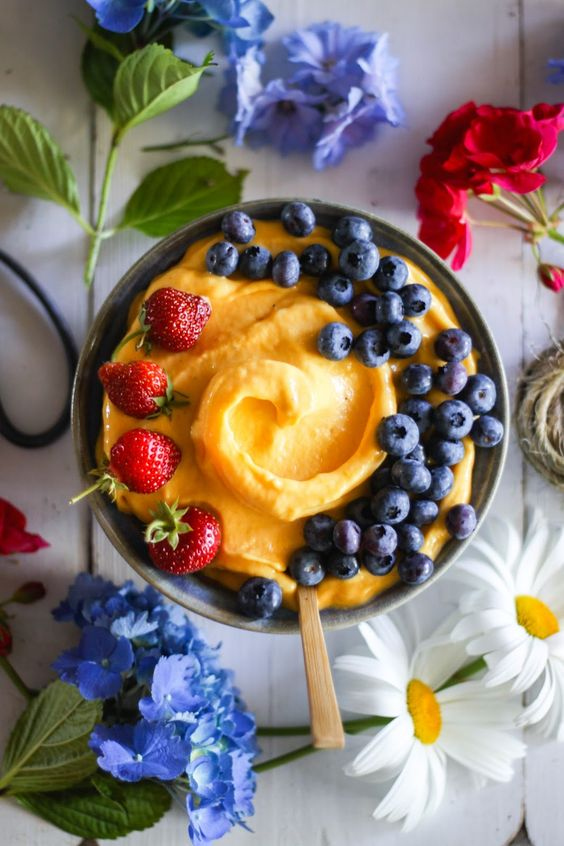 Nice Cream | frozen mango strawberries blueberries dessert toppings | Girlfriend is Better