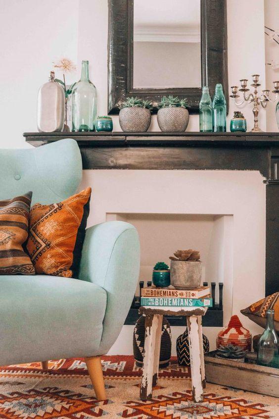 Pink Walls | Bohemian room teal succulents area rug | Girlfriend is Better