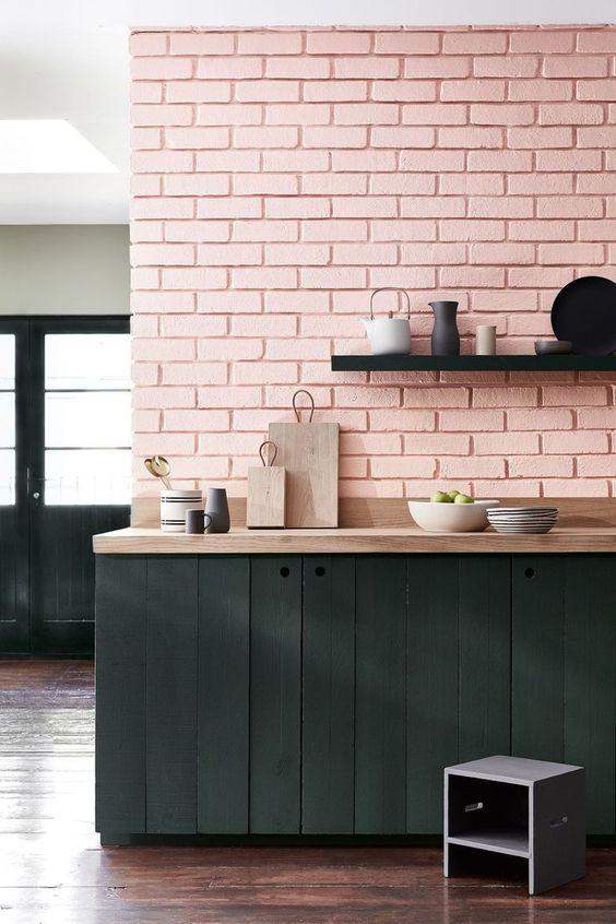 Pink Walls | Pink brick wall kitchen | Girlfriend is Better
