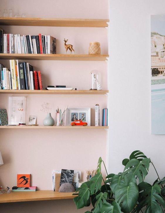 Pink Walls | White pink wall open shelving books monstera delicisosa | Girlfriend is Better