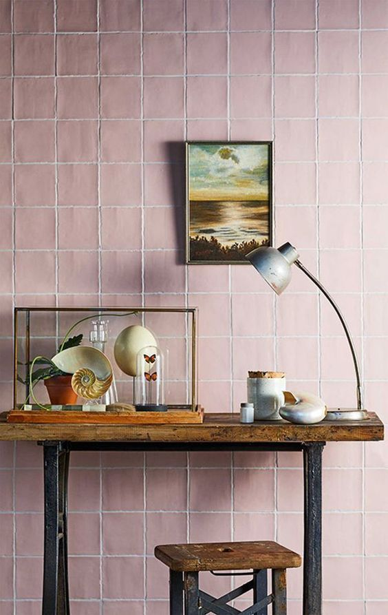 Pink Walls | Pink tiles wood console table | Girlfriend is Better