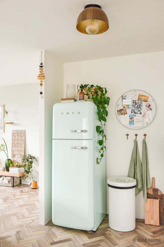 SMEG | White fridge with plants | Girlfriends is Better