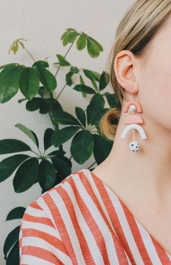 ceramic earrings   organic natural jewelry 80s minimal fashion   Girlfriend is Better