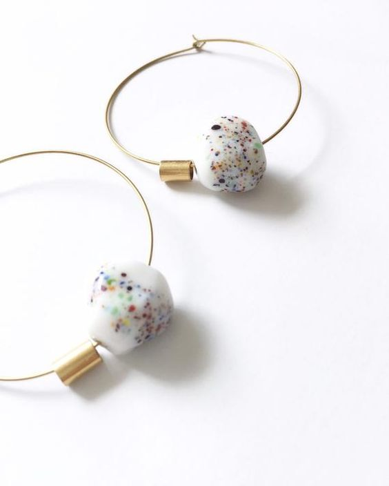 speckled ceramic earrings | porcelain minimal vintage brass hoops handmade | Girlfriend is Better
