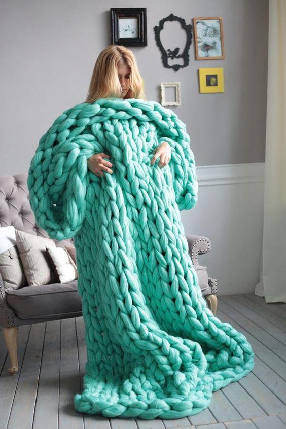 chunky knit blankets   handmade wool knit teal   Girlfriend is Better