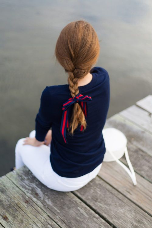 hair ribbons | red blue braid coastal conservative white jeans | Girlfriend is Better