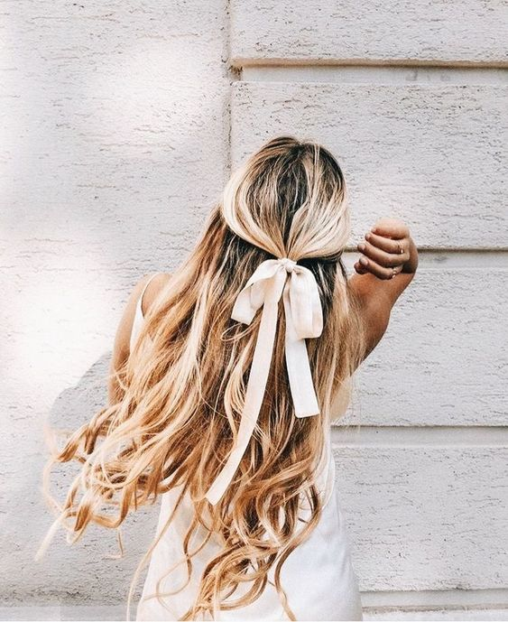 hair ribbons | blond curls half ponytail style | Girlfriend is Better