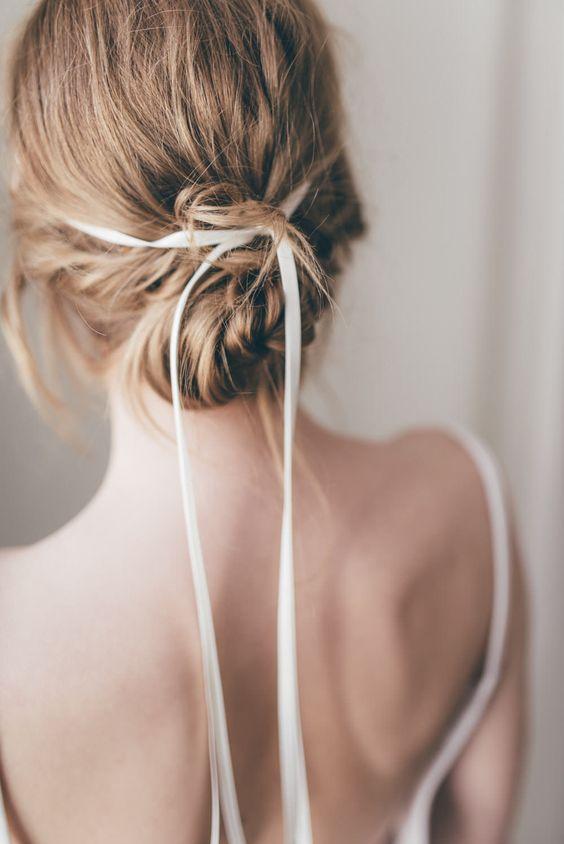 hair ribbons | thin silk ribbon wedding updo bun | Girlfriend is Better