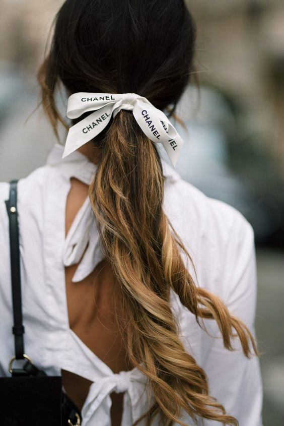 hair ribbons | Chanel recycled white gift box ribbon long ponytail | Girlfriend is Better