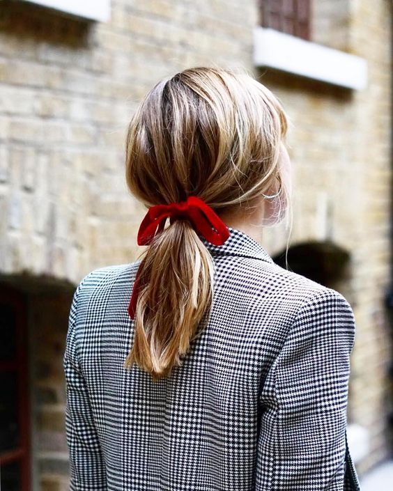 red velvet hair ribbons | work wear low ponytail double-breasted blazer | Girlfriend is Better