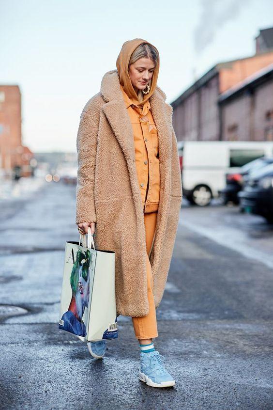posh fur coats   full-length teddy bear neutral hoodie   Girlfriend is Better