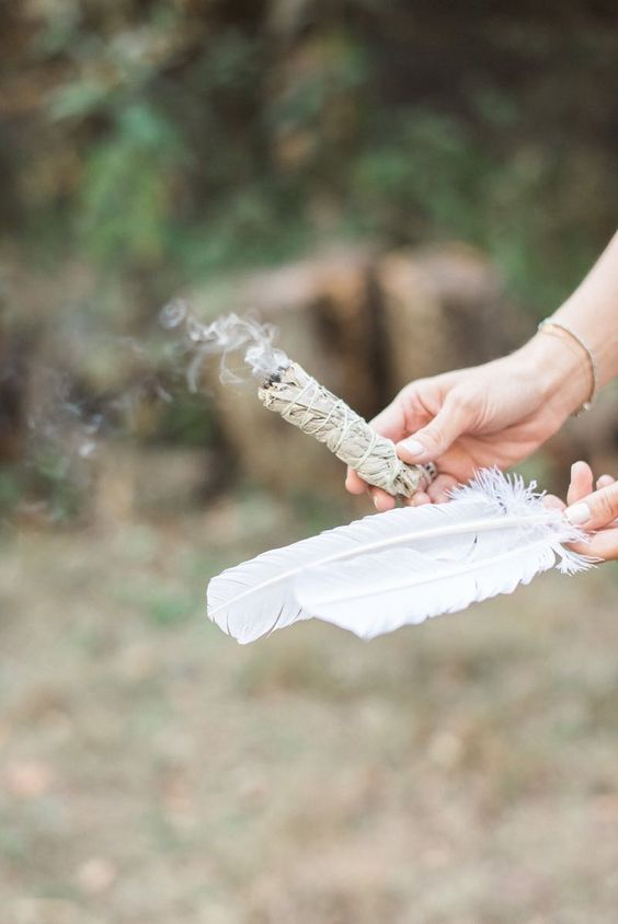 sage burning | Bohemian wedding feathers | Girlfriend is Better