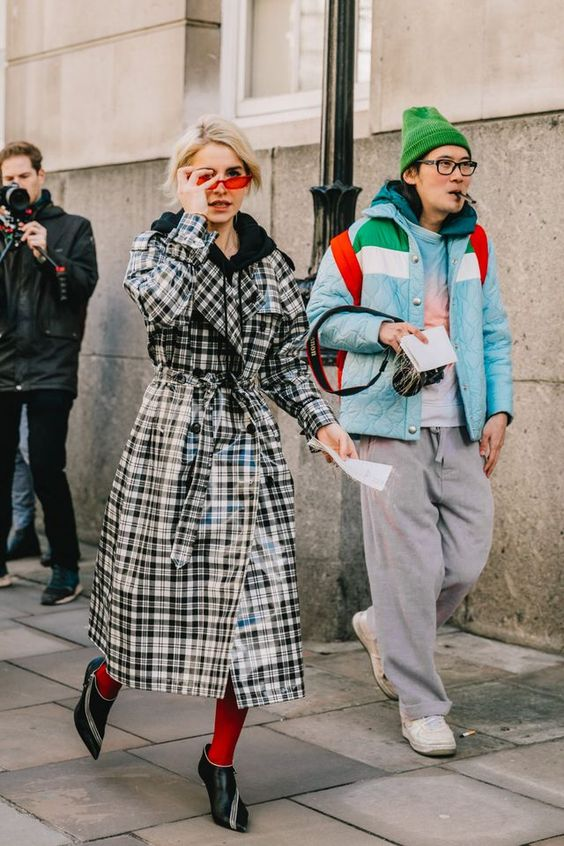 winter accessories | red colored tights tiny sunglasses plaid trench coat | Girlfriend is Better