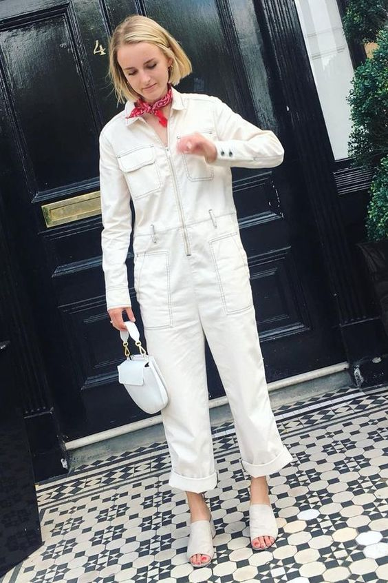 winter white outfits | denim jumpsuit top handle purse neck scarf slides | Girlfriend is Better