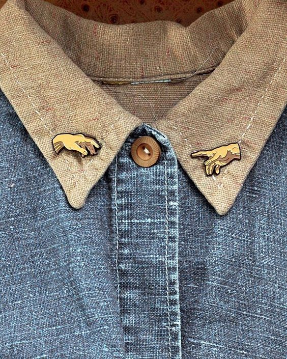 Enamel Pins | gold Sistine chapel Michelangelo hands chambray shirt lapels | Girlfriend is Better