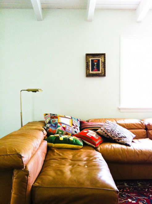 Gold Sofas | Leather couch neutrals Bohemian eclectic throw pillows embroidered | Girlfriend is Better