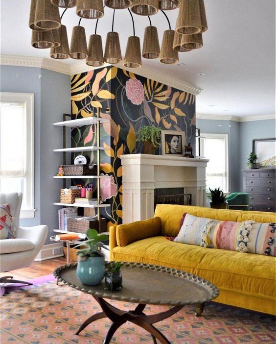 Gold Sofas   Bohemian living room floral wallpaper vintage furniture   Girlfriend is Better