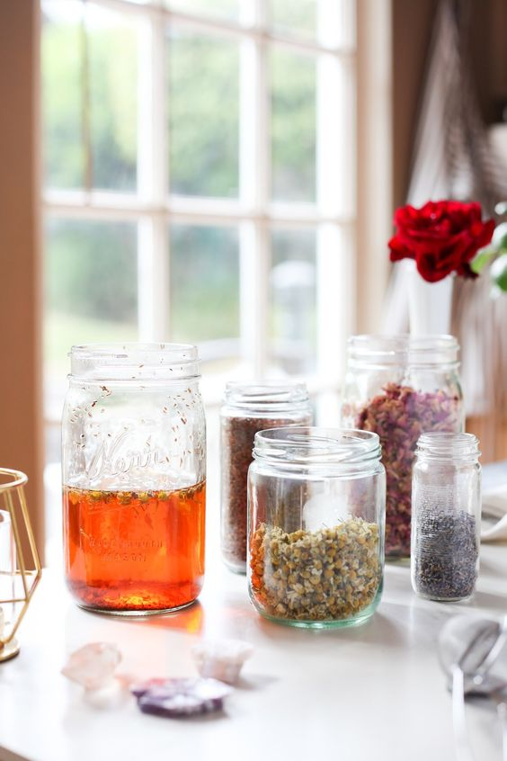 Home tea Blends | Mason jars chamomile herbal rose lavender | Girlfriend is Better