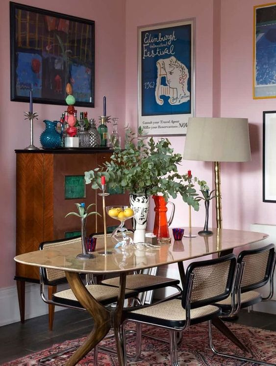 Pink Walls | Pink dining room caned chairs french country | Girlfriend is Better