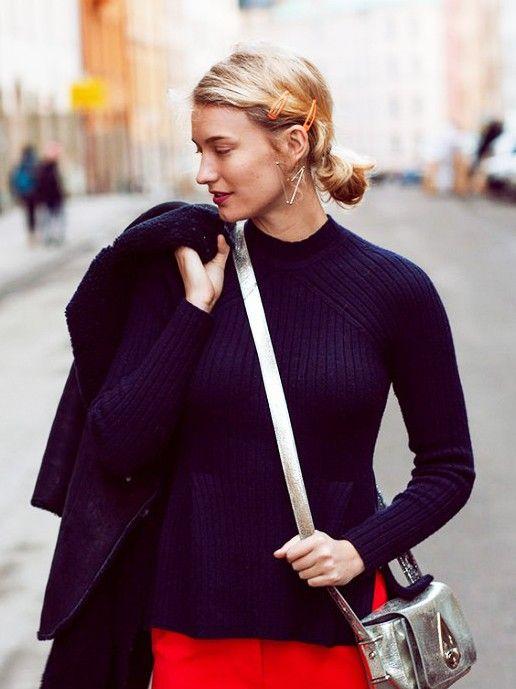 orange snap hair clips | short ponytail turtleneck sweater work wear | Girlfriend is Better