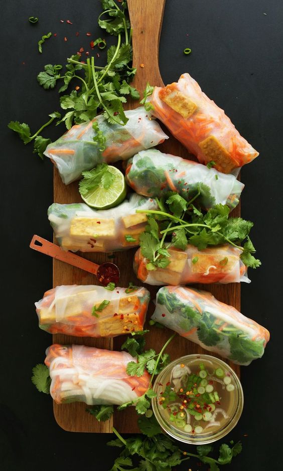 Spring Rolls | Banh mi rice paper lunch recipes healthy gluten-free vegetarian | Girlfriend is Better