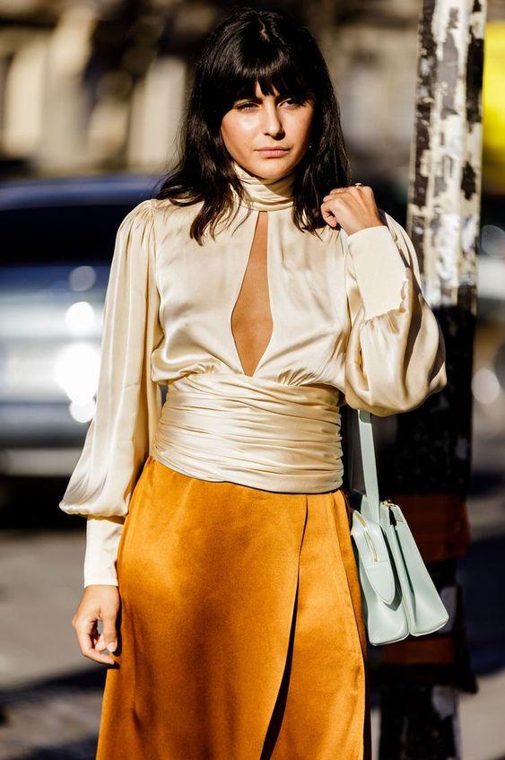 puff shoulders | silk blouse balloon sleeves work wear | Girlfriend is Better