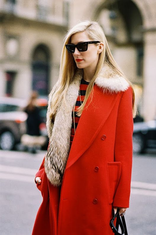 Valentine's Day street style outfits | red wool coat faux fur stole stripes sunglasses | Girlfriend is Better