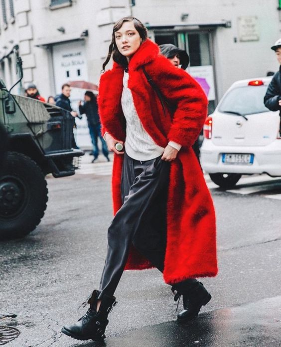 Valentine's Day street style outfits | full-length coat red faux fur white sweater combat boots | Girlfriend is Better
