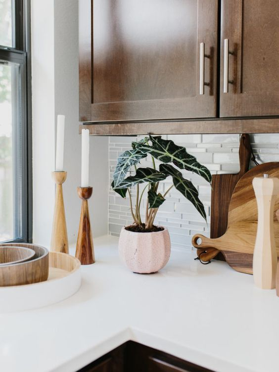 Candlesticks | Bohemian kitchen natural wood cabinets | Girlfriend is Better