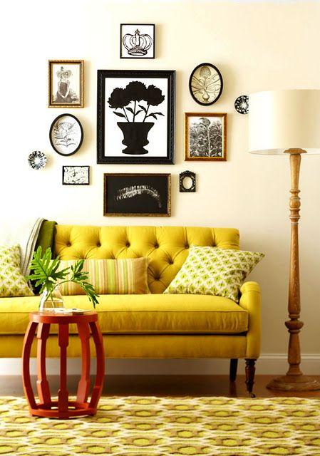 Gold Sofas   Mid-century modern living room yellow gallery wall   Girlfriend is Better