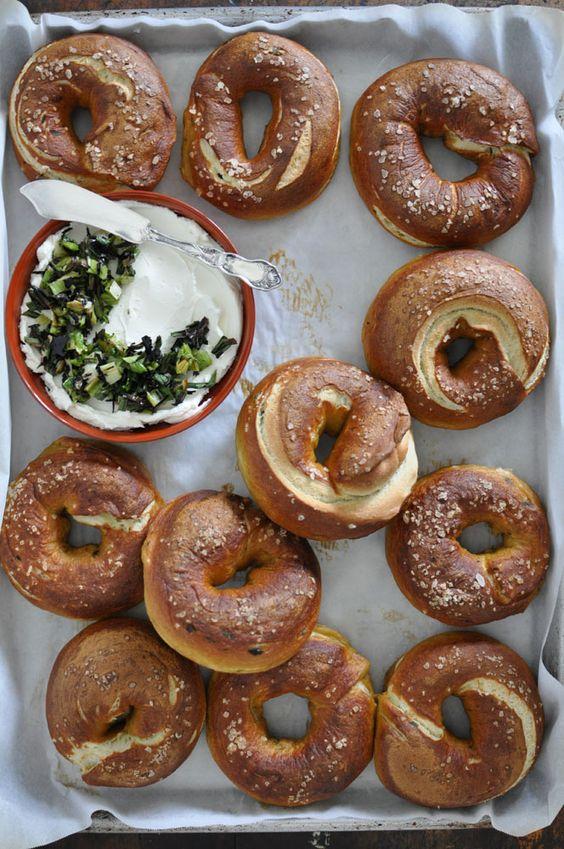 pretzel bagel sandwich | jalapeno cream cheese spread | Girlfriend is Better