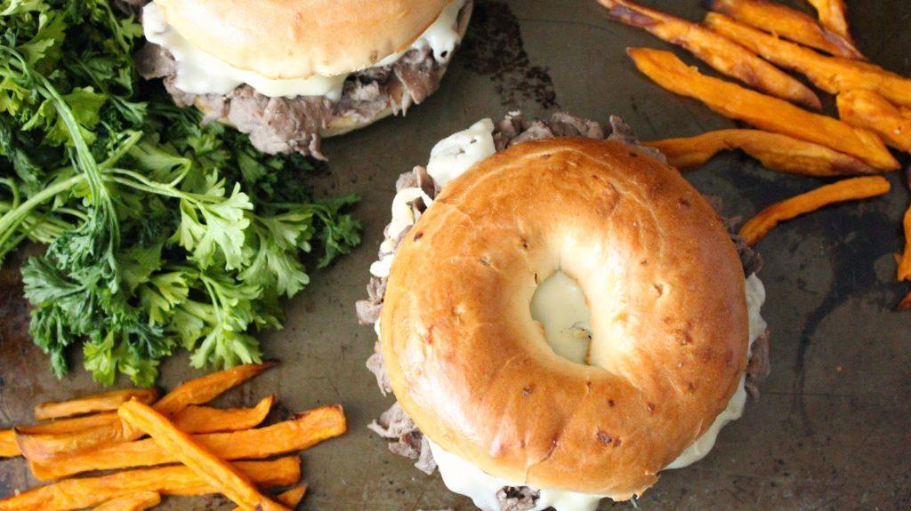 onion bagel sandwich | Philly cheese-steak sweet potato fries | Girlfriend is Better