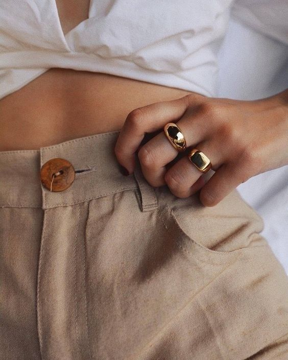 gold signet ring   barrel leg chino pants white tie front top   Girlfriend Is Better