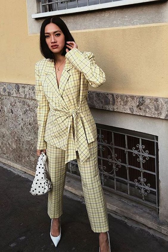 pant suits yellow plaid tie waist blazer polka dot purse | Girlfriend is Better