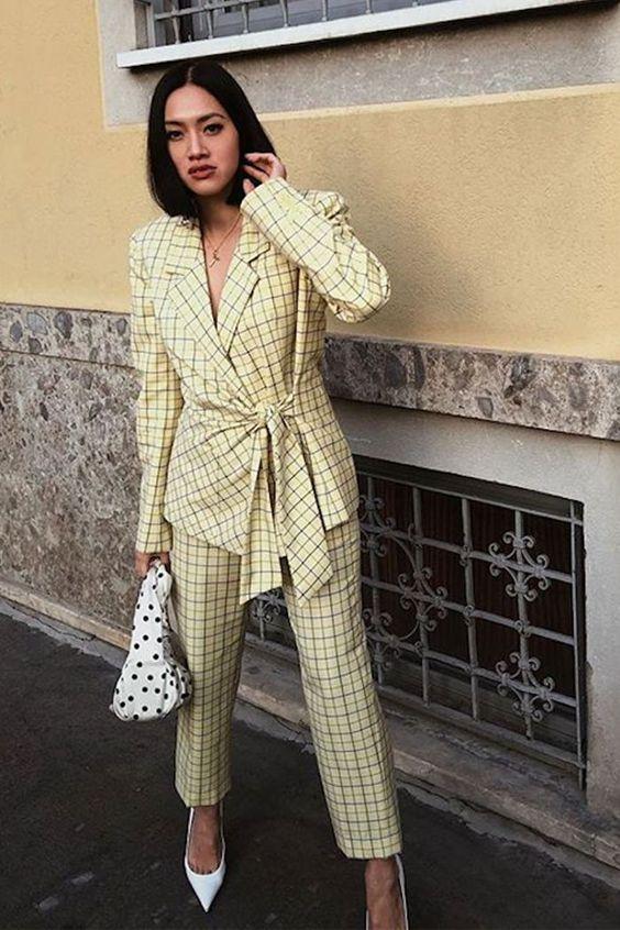 pant suits yellow plaid tie waist blazer polka dot purse | Girlfriend is Better