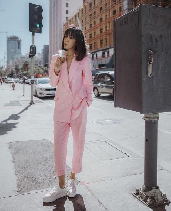 pant suits pink double-breasted blazer white tennis shoes | Girlfriend is Better