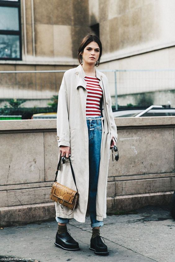 tomboy fashion | full-length trench coat striped tee high-water vintage Girbaud jeans 90s top handle snakeskin purse | Girlfriend is Better