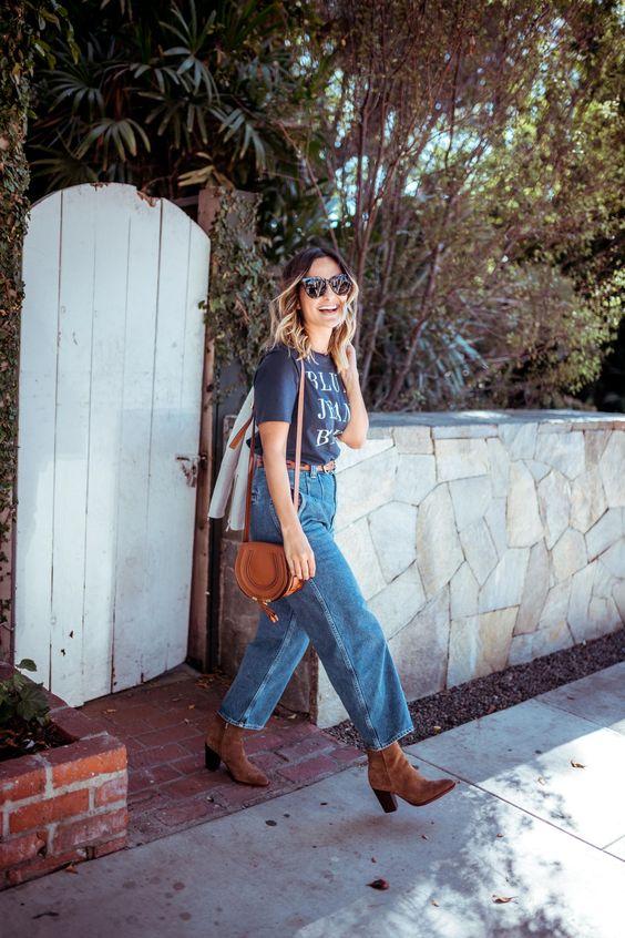barrel jeans | wide leg high-water cowboy boots saddle purse | Girlfriend is Better