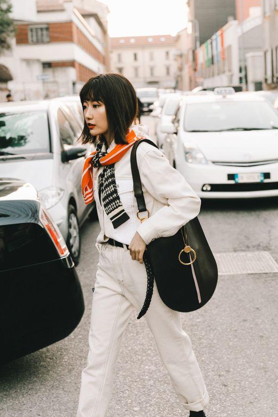 barrel jeans | all-white monochromatic minimal neutrals braided belt work wear | Girlfriend is Better