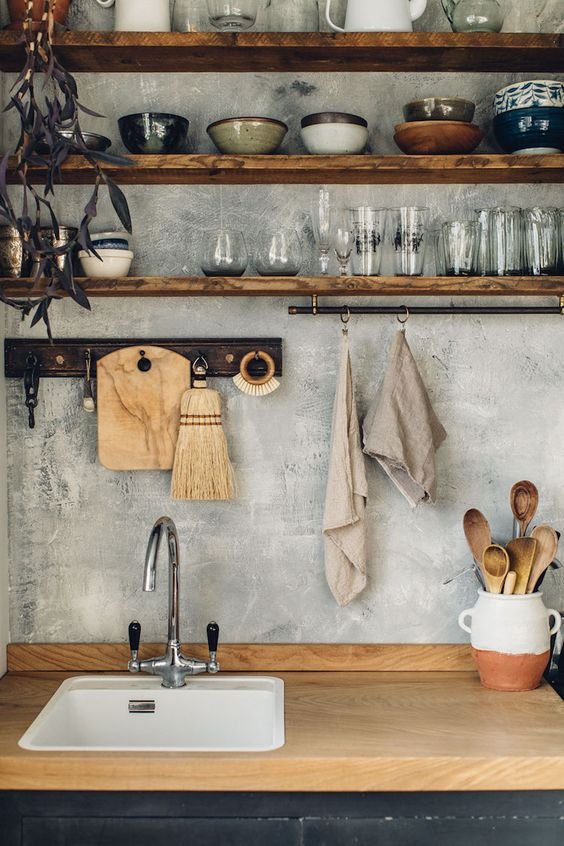 kitchen shelving | open shelves Scandinavian Hygge peg board wood element | Girlfriend is Better