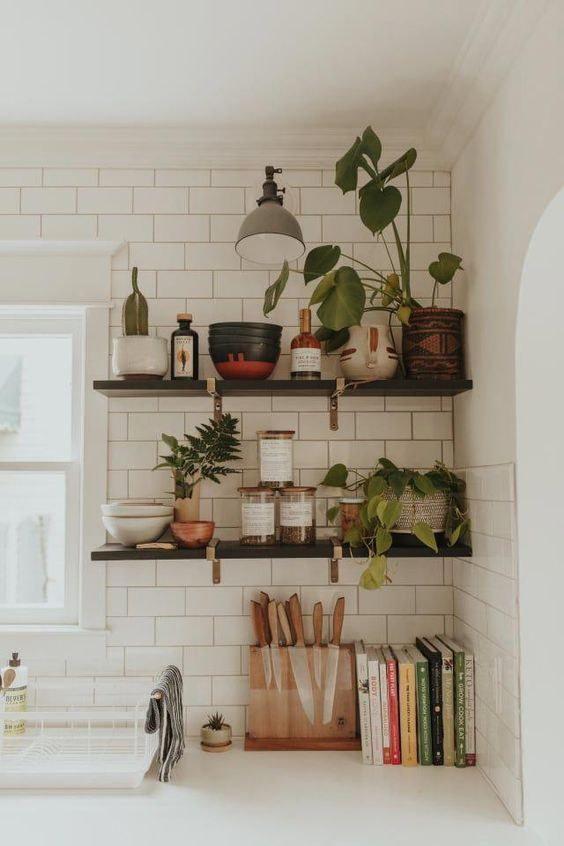 kitchen shelving | plants Bohemian vignette knife block cookbooks display | Girlfriend is Better