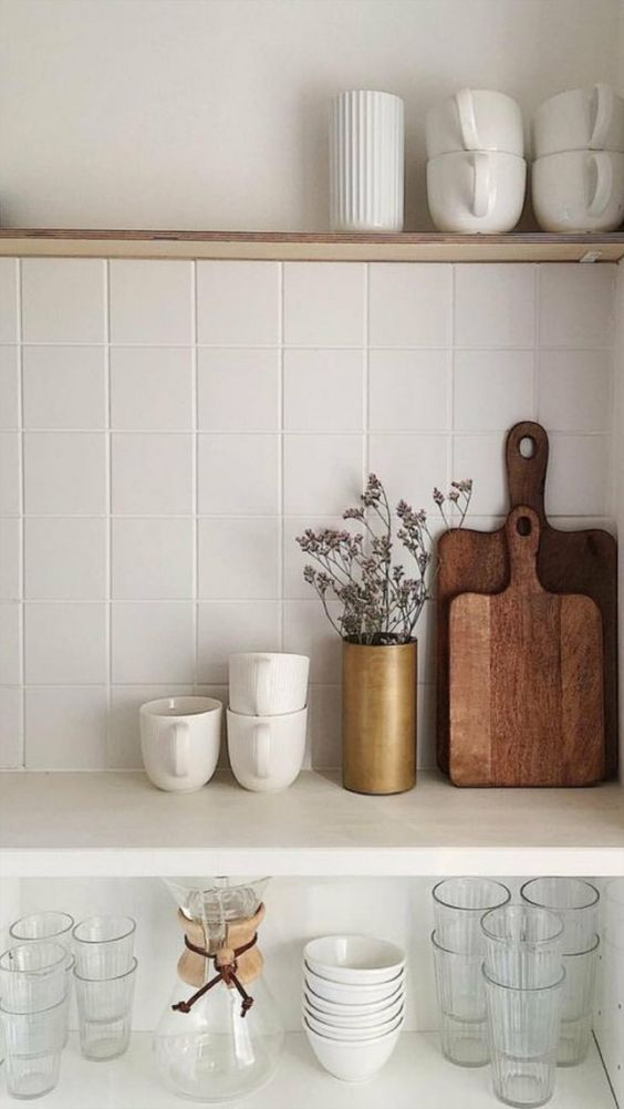 kitchen shelving | hygge decor cutting boards entertaining dishwater mugs | Girlfriend is Better