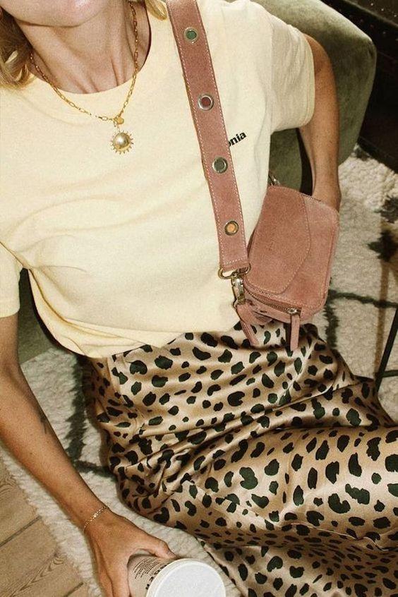 satin animal print skirt yellow tee shirt coin necklace | Girlfriend is Better