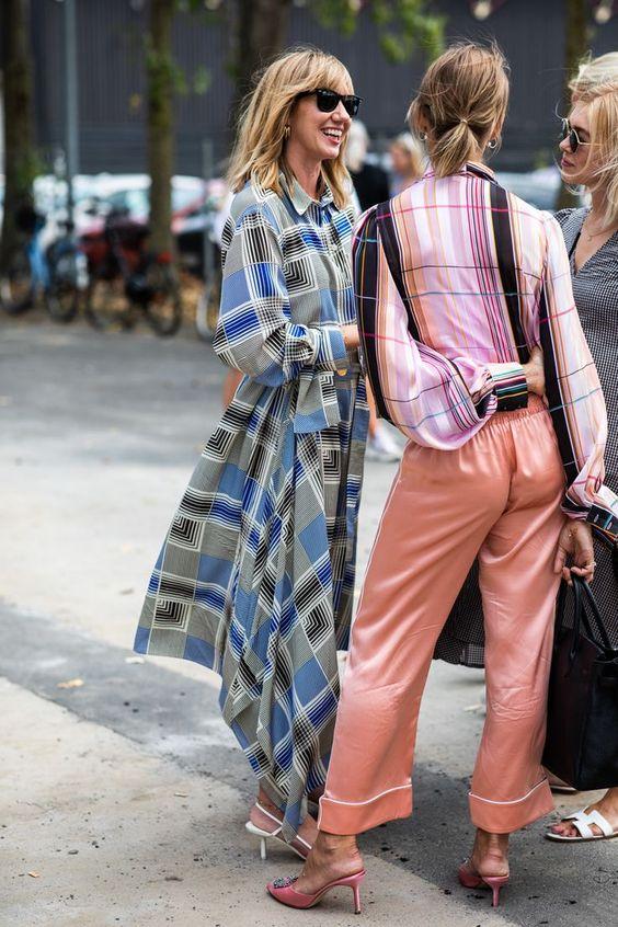 satin pajama pants plaid blouse bishop sleeves | Girlfriend is Better