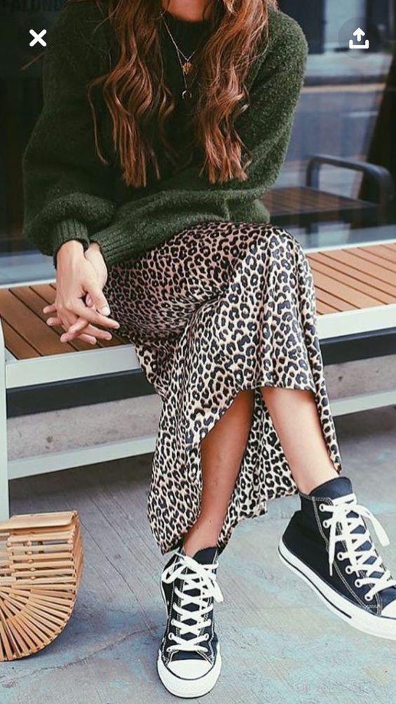 satin cheetah print maxi skirt green oversized sweatshirt accordion straw purse | Girlfriend is Better