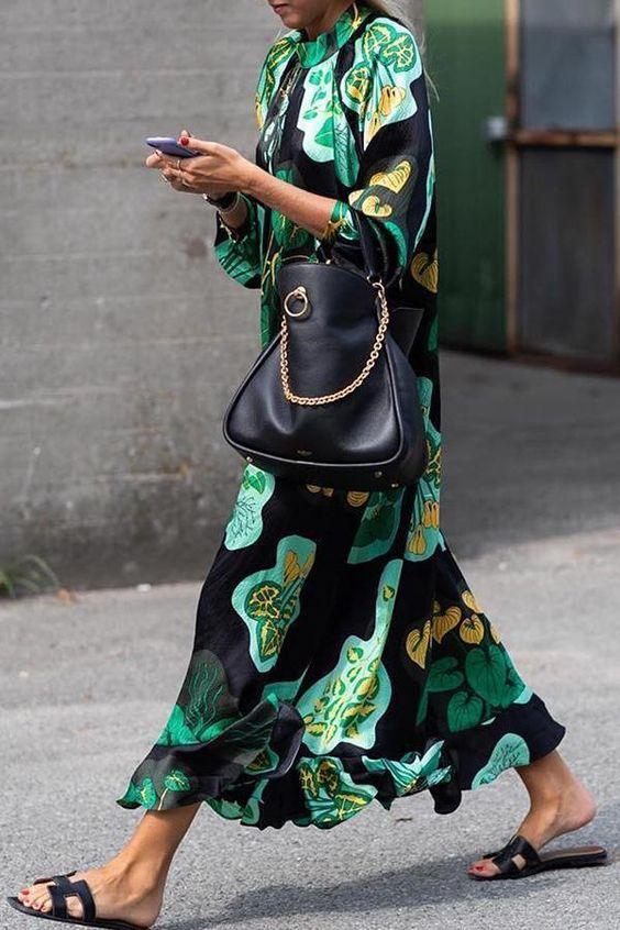 satin maxi dress green Bohemian print top handle purse leather sandals | Girlfriend is Better