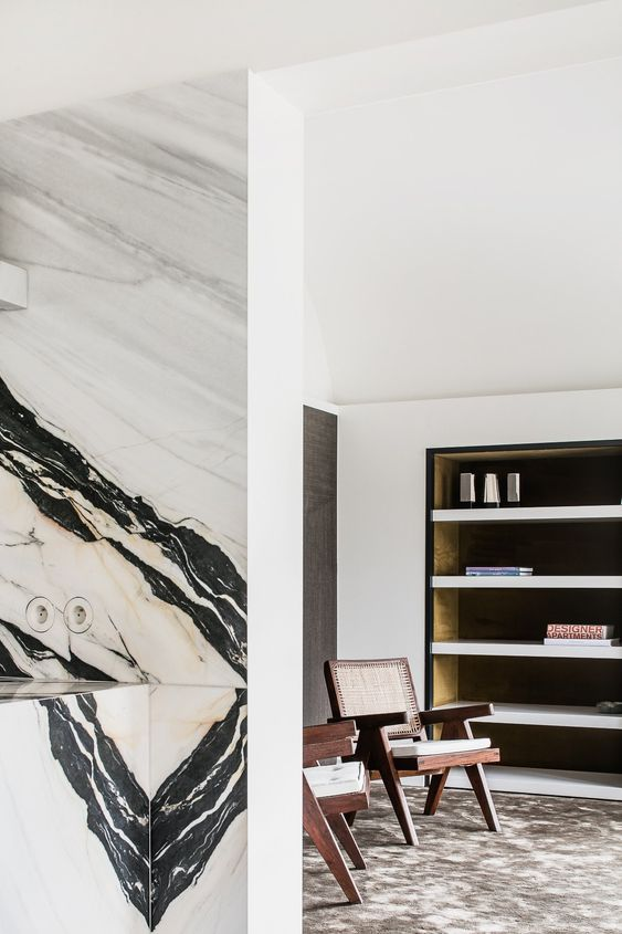 panda marble | mid-century modern living room kitchen | Girlfriend is Better