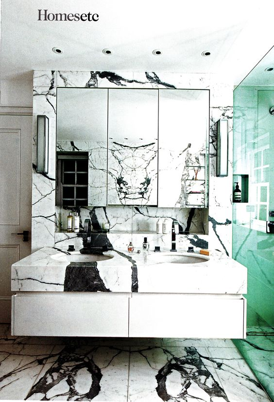 panda marble | teal bathroom sink counter 80s | Girlfriend is Better