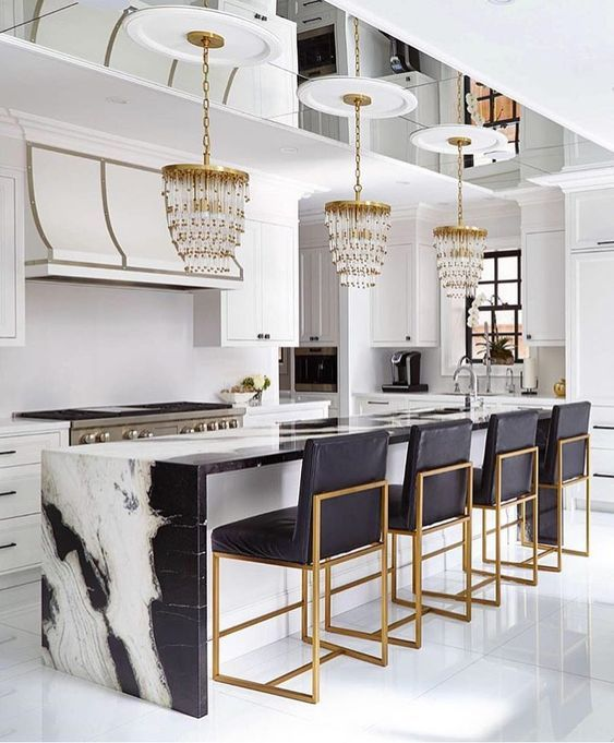panda marble | kitchen countertop bar contemporary gold metal white black | Girlfriend is Better