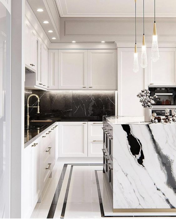 panda marble | kitchen contemporary black white | Girlfriend is Better